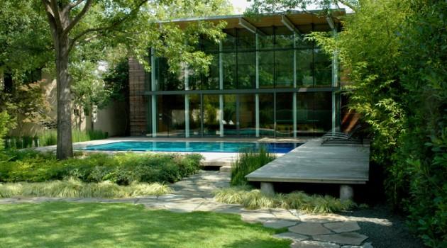 Amazing Pool House with a Very Unique and Playful Garden Design