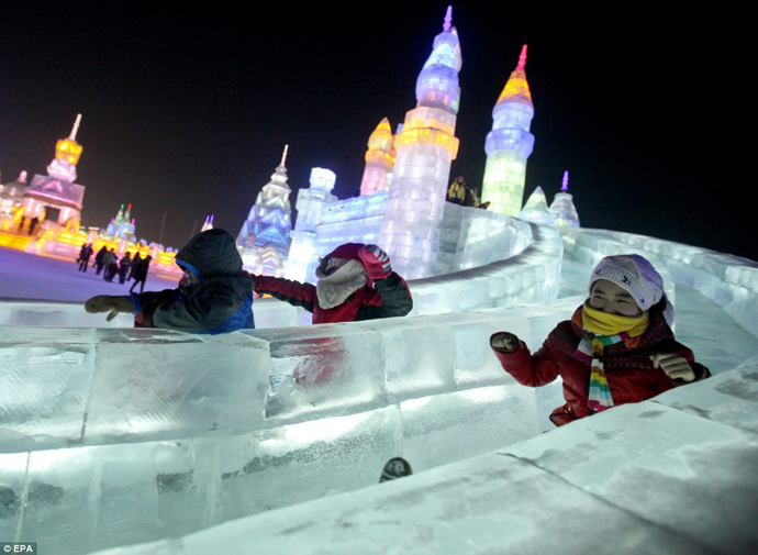 Incredible Ice Sculptures Come Alive Through LED lights, Harbin