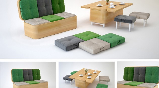 Convertible Sofa Easily Transformed into a Small Dining Table