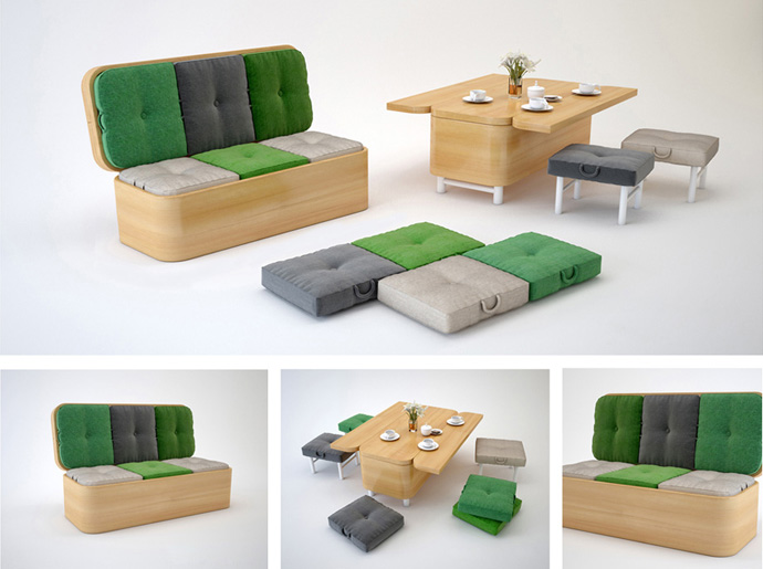 Convertible sofa easily transformed into a small dining table - Sofa plegable ...