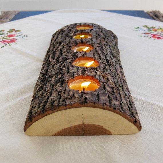 DIY tealight wood candle holder