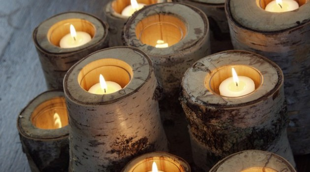 Candles made from tree trunks