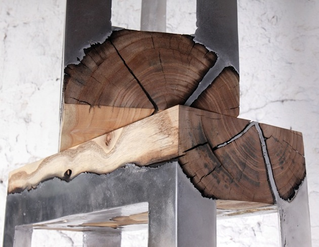 Stunning furniture of wood and cast aluminium