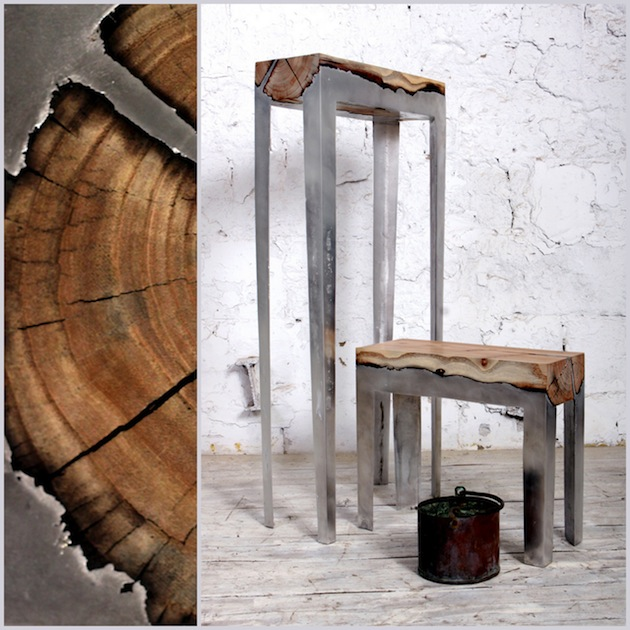 Stunning furniture of wood and cast aluminium