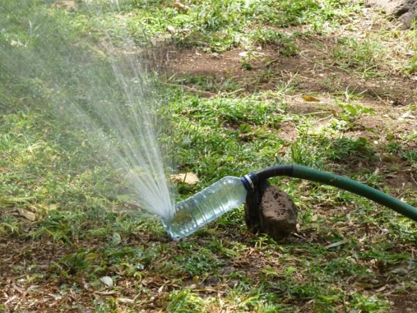 plastic bottle garden sprinkler hose