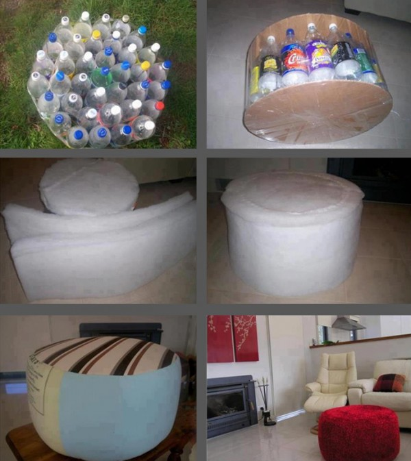 ottoman made out of bottles