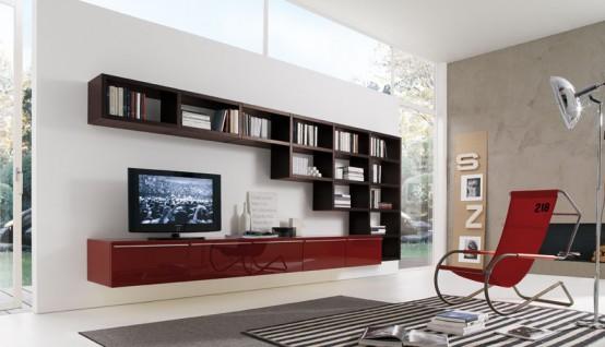 how to use living room walls to create modern shelves Room Shelf Designs