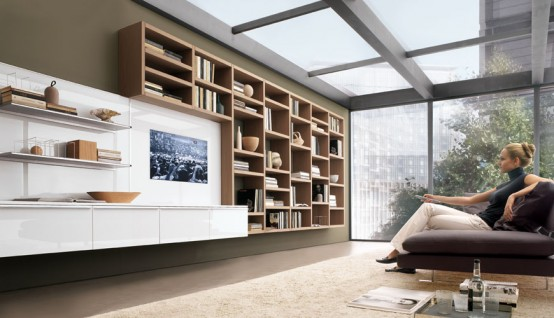 How to use living room walls to create modern shelves