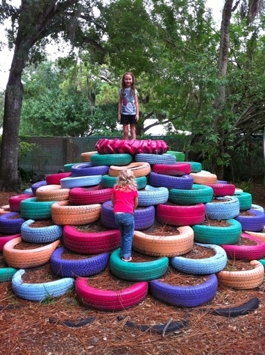 Upcycle Tires To Make A Jungle Gym