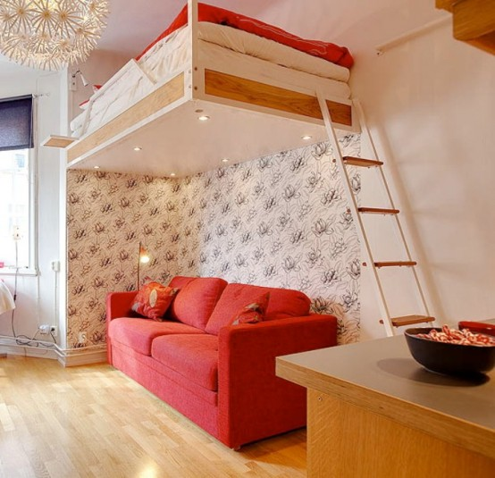 Even Apartment of 21 Square Meter Can Be Cozy: Here is the One In Red