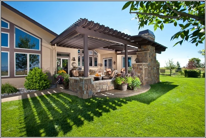 Outdoor Area With A Pergola Above