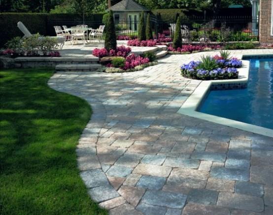 25 Ideas Of Stone Pool Deck Design