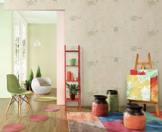 Create a colours dreamful atmospehere in kids room with wallpapers