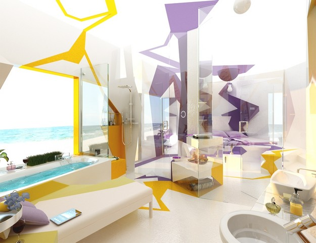Amazing colorful bathroom design by Gemelli Design
