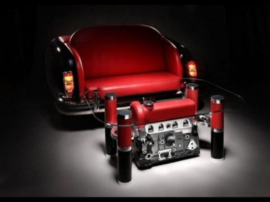 Unique coffee tables and sofas made of car parts Custom furniture made car parts