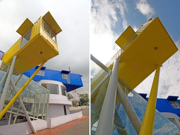 Colorful And Eye-Catching Library Built From Recycled Shipping Containers