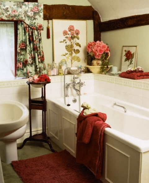 48 bathroom interior ideas with flowers and plants ideal for English country bathroom designs