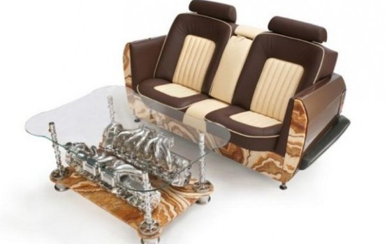 Unique Coffee Tables And Sofas Made Of Car Parts