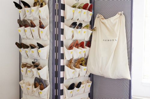 Hang Shoe Organizers On A Room Divider Or Screen