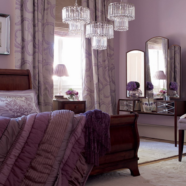 19 purple and white bedroom combination ideas for Purple bedroom designs