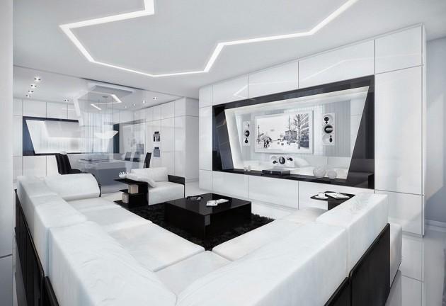 White Contemporary Living Room Designs