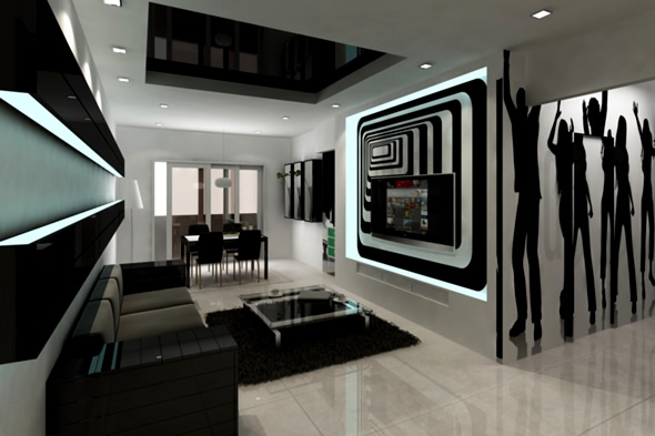 20 wonderful black and white contemporary living room designs Black and white room designs