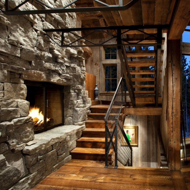 Rustic retreat with an industrial edge in big sky for Rustic industrial decor