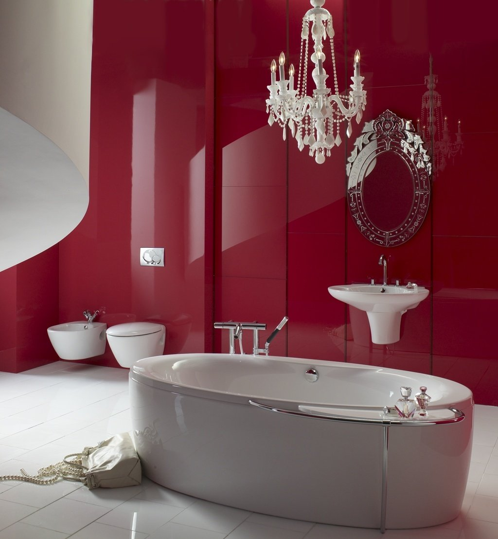 Top 5 modern bathroom color ideas that makes you feel - Salle de bain rouge et noir ...