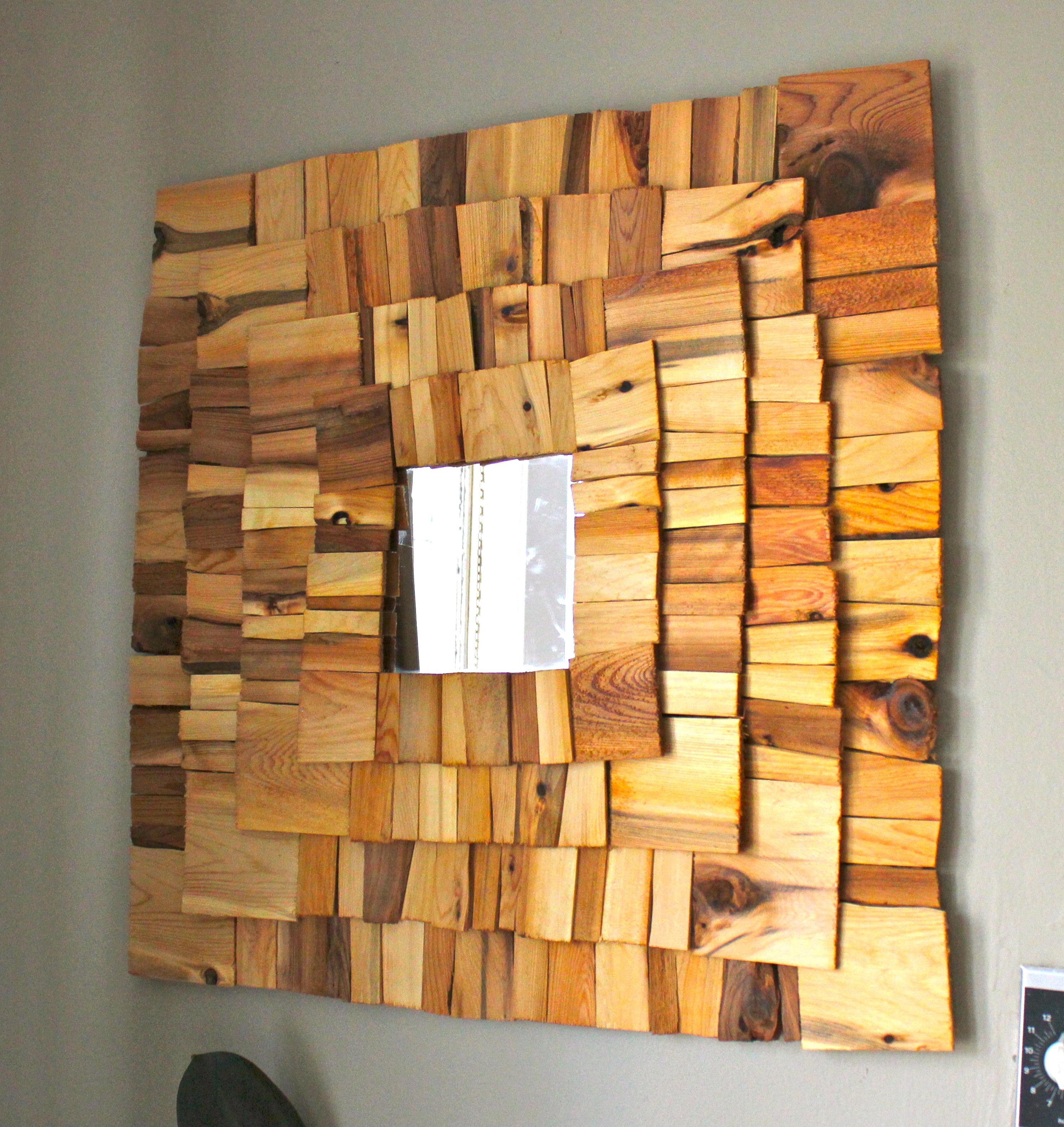 10 diy cool mirror ideas for Wood plank art ideas