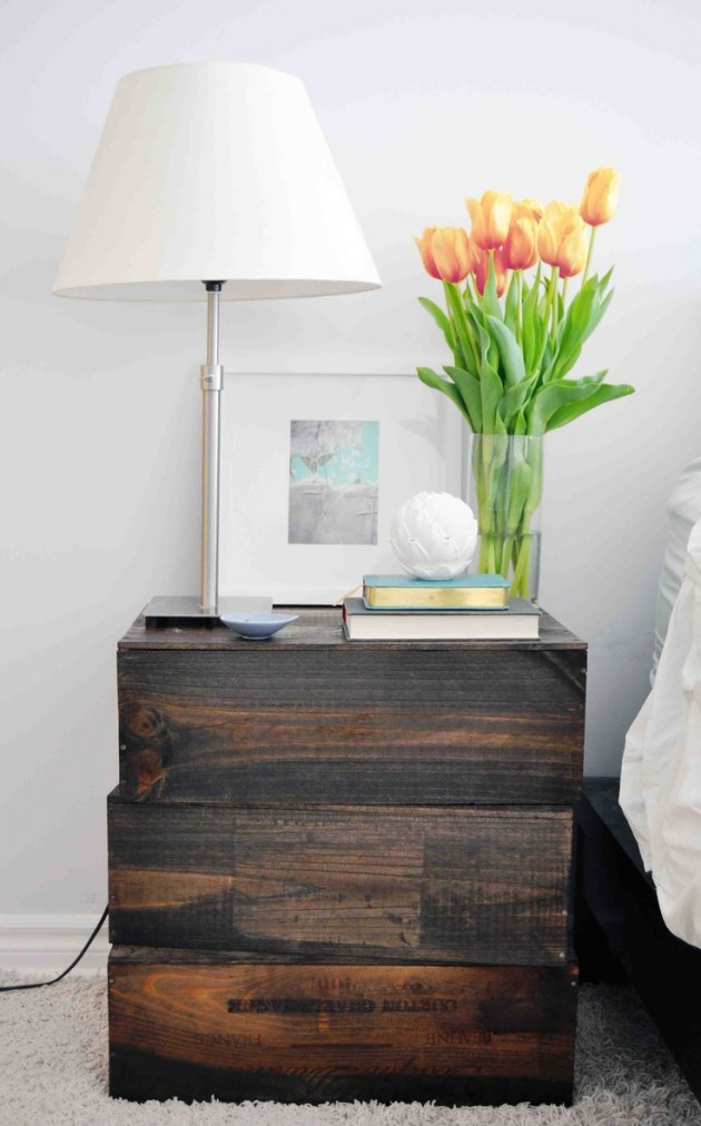 20 adorable diy nightstands for Empty wine crates