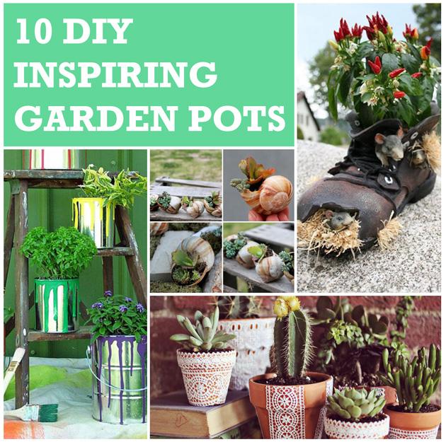 10 DIY Inspiring Garden Pots