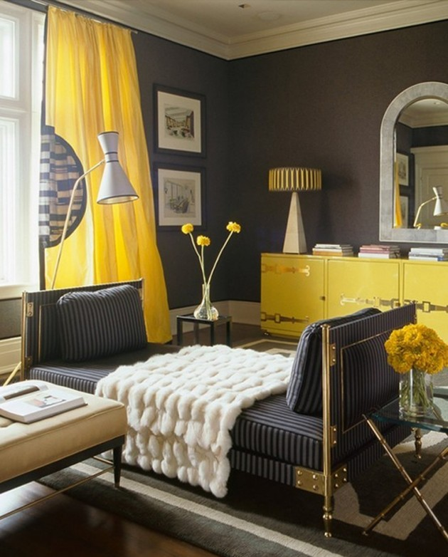 20 Living Rooms With Beautiful Use Of The Color Grey: 20 Chic Interior Designs With Yellow Curtains
