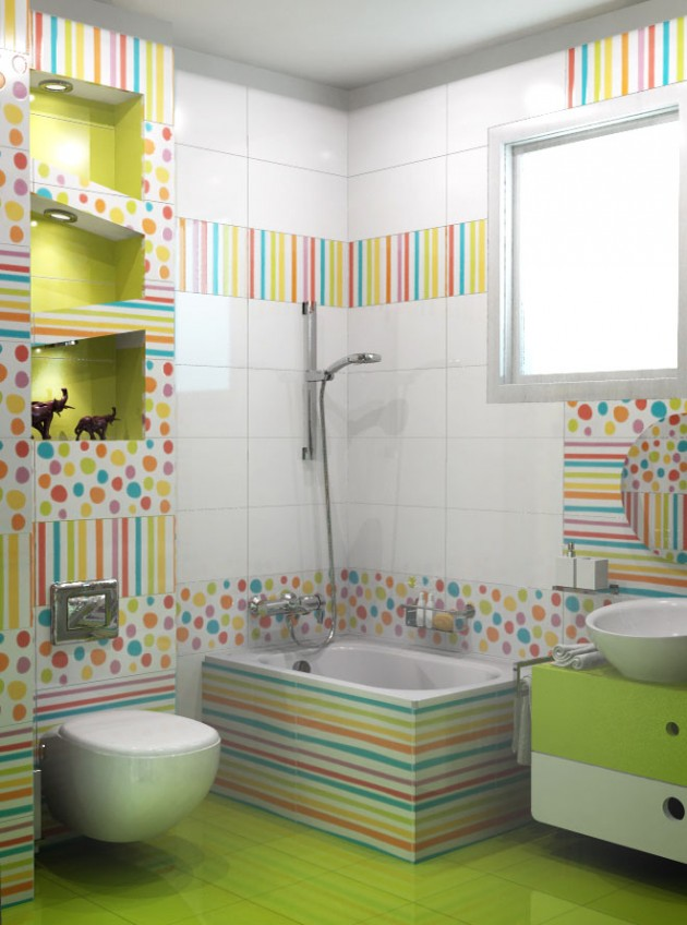 30 colorful and fun kids bathroom ideas for Tiles for kids bathroom