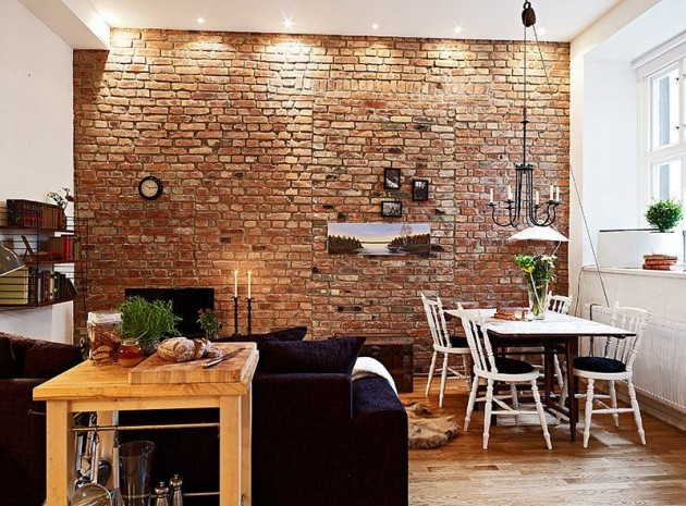 30 amazing apartments with brick walls for Interior brick wall designs