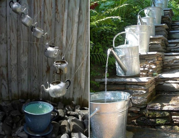 30 adorable repurposed kitchen items Home made water feature