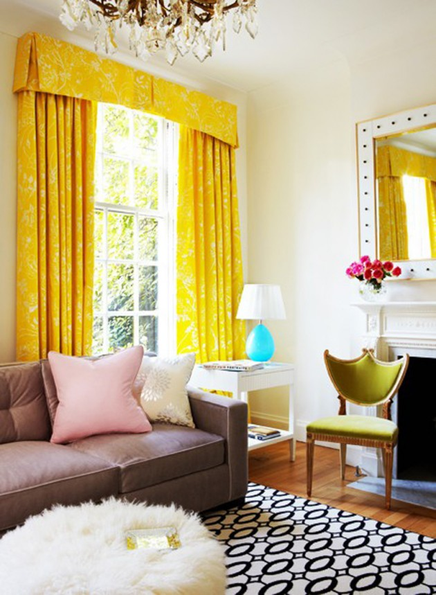 20 chic interior designs with yellow curtains - Yellow interior house design photos ...