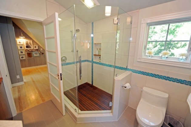 16 Fancy Bathroom Combined Flooring Ideas