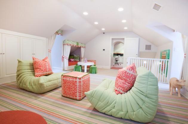 20 Wonderful Examples of Repurposing an Attic for Kids Playroom