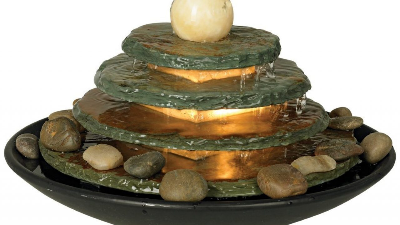 Cascading Fountains Lighted Architectural Tabletop Fountain