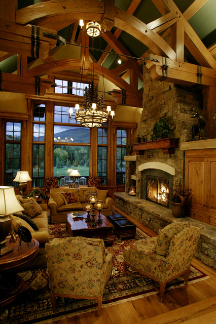 stunning log cabin living room | 46 Stunning Rustic Living Room Design Ideas