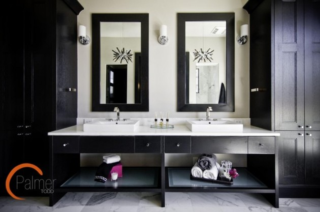 Elegant Black & White Colored Bathroom Design Ideas