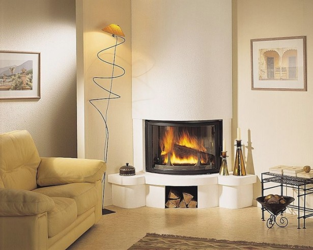 Ultra Modern Corner Fireplace Design Ideas