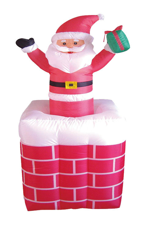 Christmas Inflatables Animated Santa on Chimney