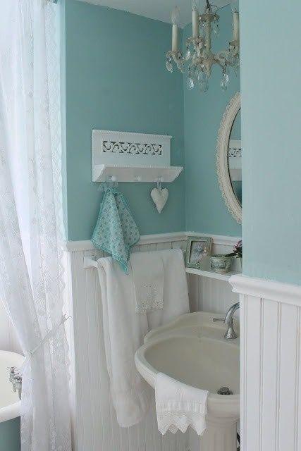 30 adorable shabby chic bathroom ideas for Aqua colored bathroom ideas