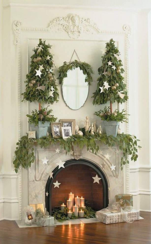 26 amazing diy fireplace mantel christmas makeovers - How To Decorate A Fireplace Mantel For Christmas