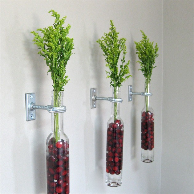 Wine Bottle Wall Flower Vases  18 Beautiful Decorative Vase Designs