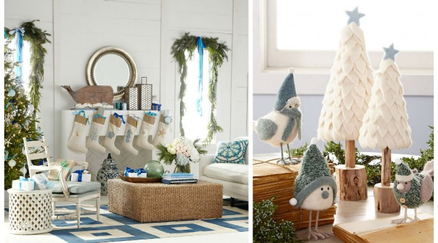 Coastal Christmas White and Blue Interior Design