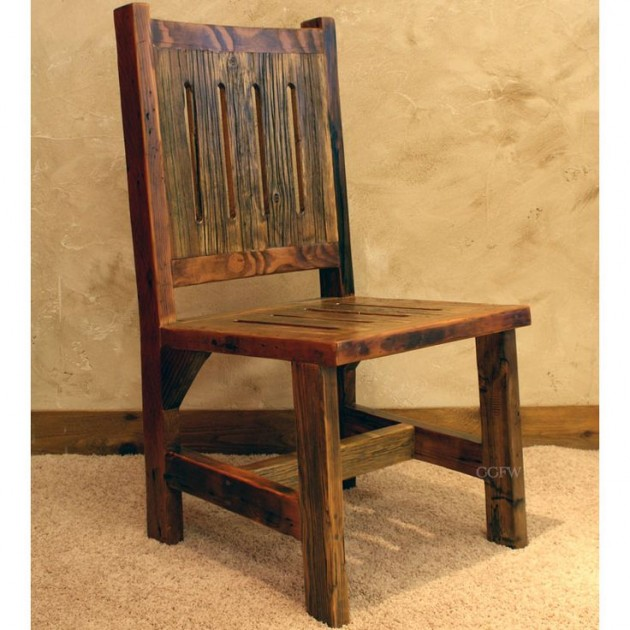 Rustic Old Wooden Chair Designs Natural Oak Side Chair