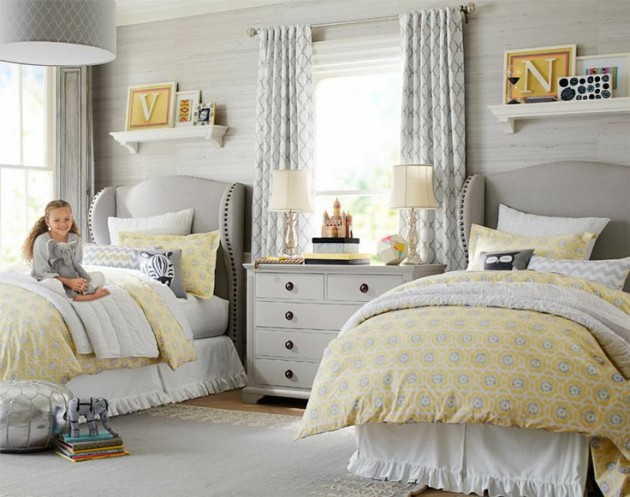 Situation familiar Yellow and gray bedroom teen girl think