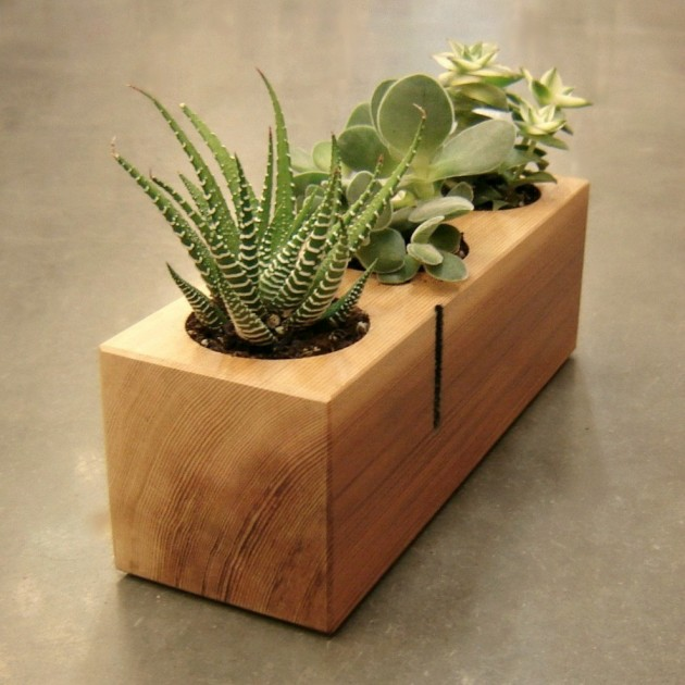 16 Minimalistic Handmade Wooden Planter Designs (13)